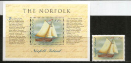 """Longboat """"The Norfolk"""" Built By Convicts In Norfolk Island 1798,  Bloc-feuillet + Timbre Neufs **. Côte 7,00 € - Bateaux"""