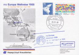 """DEUTSCHE SCHIFFSPOST MS """"Europa"""", Weltreise 25.1.1988 - Schiffahrt"""