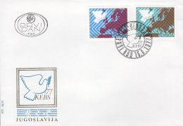 EUROPA, CEPT-Mitläufer: JUGOSLAWIEN 1692-1693, FDC, Konferenz über Sicherheit Und Zusammenarbeit In Europa (KSZE),  1977 - Europa-CEPT