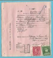 PROTET DE NON PAYEMENT D´EFFET Affr.323+403 Obl. BASSILLY Le 27/1/37 (TB-perfo Réglementaire Du Timbre) - 1931-1934 Képi