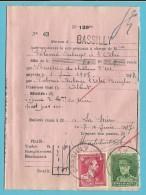 PROTET DE NON PAYEMENT D´EFFET Affr.323+428 Obl. BASSILLY (TB-perfo Réglementaire Du Timbre) - 1931-1934 Kepi