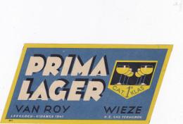 Bier Brouwerij  Etiket Brasserie Beer Prima Lager Van Roy Wieze Termonde - Bier