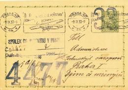 K8655 - Czechoslovakia (1933) Praha 40 (4b): Use Of Air Mail Transport (Postal Stationery) Tariff: 0,50 Kc - Czechoslovakia