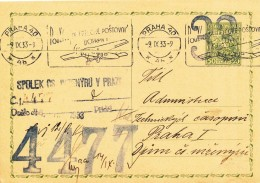 K8655 - Czechoslovakia (1933) Praha 40 (4b): Use Of Air Mail Transport (Postal Stationery) Tariff: 0,50 Kc - Cecoslovacchia