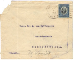 PANAMA - 1913 - 5 - Kaiserlich Deutsches Konsulat - Viaggiata Da Colón Per Barranquilla, Colombia - Panama