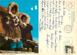 Inuit Eskimo Kids, Children Of The Arctic, Canada Postcard Posted 1975 Stamp - Cartes Modernes
