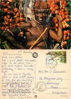 Native Man, Dum Dum Palm Tree Fruits, Kenya Postcard Posted 1985 Stamp - Kenya