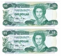 Bahamas 1 Dollar X2 Consecut. Numbers, XF,  Free Ship. To USA. - Bahama's
