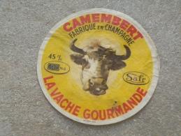 Ancienne étiquette Fromage  Champagne Camembert Vache Gourmande SAFR  Belle Tête De Vache  Surcharge - Formaggio