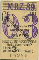 Berlin - Monatskarte - Gartenfeld Treptow - S-Bahnverkehr 3. Klasse Preisstufe 2 1939 - Bahn