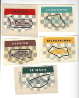 5 DECALCOMANIES Course Automobile ( Car Race ) Goodwood Le Mans  Monza Sebring Silverstone - Old Paper