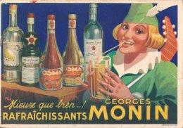 Bourges: Carte Avis De Passage De La Distillerie Georges Monin Adressé à L'hôtel Golay à Cinquétral  Dans Le Jura - Bourges