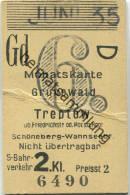 Berlin - Monatskarte - Grunewald Treptow - S-Bahnverkehr 2. Klasse Preisstufe 2 1935 - Bahn