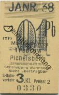 Berlin - Monatskarte - Treptow Pichelsberg - S-Bahnverkehr 3. Klasse Preisstufe 2 1938 - Bahn