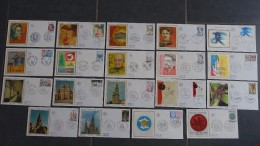 FRANCE FDC 19 Enveloppes 1er Premier Jour SOIE ANNEE 1977 - Collection Timbre Poste - 1970-1979
