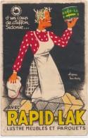"""Publicité Du Cygne Noir Cirage, Crème Calandrier Au Dos De De 1934 """"  Rapid-Lak """" :  Signée : H.Gerbault - Andere Illustrators"""