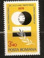 Roumanie Romania 1979 N° 3147 ** Lutte Contre Apartheid, Colombe, Paix, Laurier, Afrique Du Sud, Racisme, Politique - 1948-.... Républiques
