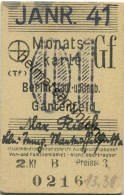 Berlin - Monatskarte - Berlin Stadt- Und Ringbahn Gartenfeld - 2. Klasse Preisstufe 3 1941 - Bahn