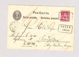 Heimat Schweiz AG BADEN 1MRZ1881 Kastenstempel Auf 5Rp Ganzsache Nach Bergdietikon - 1862-1881 Sitzende Helvetia (gezähnt)
