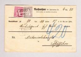 Heimat Schweiz ZH ZÜRICH 18.NOV.1880 Kastenstempel Mit 5 Und 10Rp Sitzendeauf Nachnahme Nach Pfäffikon - 1862-1881 Helvetia Assise (dentelés)