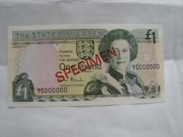 Jersey - 1 Billet De 1 Note Of 1 £ Pound - SPECIMEN - Neuf/UNC - YC 000000 - Jersey