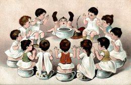 Jolie Lithographie - Bébés Multiples - Enfants Sur Des Pots De Chambre - Petits Pots - S N° 4174 - 2 Scans - Bébés