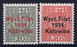 Poland  Mi Nr 285 - 286   MH/* Falz/ Charniere  1934 - 1919-1939 Republic