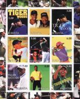 République Bouriate - Buriatia, Golf, Tiger Woods, Souvenir Sheets - Etichette Di Fantasia