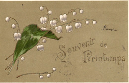 5385. CPA GAUFREE FLEUR MUGUET. SOUVENIR DE PRINTEMPS. - Fleurs