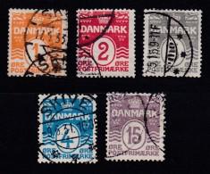 DENMARK, 1905, Used Stamp(s), Definitives, Numbers,   Mi 42-46, #10009, Complete - 1905-12 (Frederik VIII)