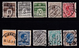 DENMARK, 1921, Used Stamp(s), Definitives,   Mi 118=128, #10020,   10 Values Only - 1913-47 (Christian X)