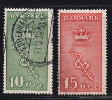 DENMARK, 1929, Used Stamp(s), Crown & Staff,  Mi 177=179, #10028,  2 Values Only - 1913-47 (Christian X)