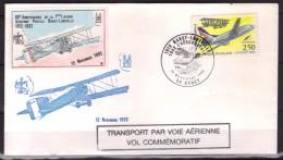 Aviation - 80e Anniversaire De La 1ere Liaison Aérienne Postale Nancy-Lunéville (1912-1992) - Lettre Commémorative - Postmark Collection (Covers)