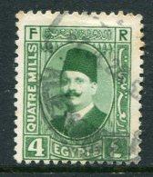 Egypt 1927-37 King Fuad I - 4m Bright Green Used (SG 153) - Egypt