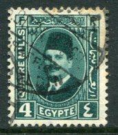 Egypt 1927-37 King Fuad I - 4m Deep Blue-green Used (SG 155) - Egypt