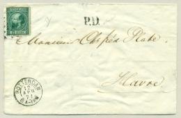 Nederland - 1871 - 20c Willem III 3e Emissie Op Vouwbrief PD Van Rotterdam Naar Le Havre / Frankrijk - Periode 1852-1890 (Willem III)