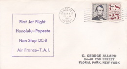 France 1961 First Jet Flight Honolulu To Papeete Non Stop DC 8, Souvenir Cover - France