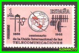 ESPAÑA  ( EUROPA )  SELLO  CENTENARIO DE LAS COMUNICACIONES AÑO 1965 NUEVO - 1961-70 Nuevos & Fijasellos