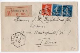 Semeuse Sur Lettre Recommandée - CaD Hexagonal De Marseille C De 1921 - Postmark Collection (Covers)