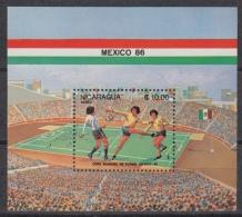 Nicaragua  Blok 170 ** MNH World Cup Football Mexico 1986 - Nicaragua