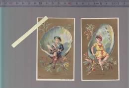 Chromo - Lot De 2 Minot  -  Coquillages Enfant - Navigateur, Baigneuse -  Fond Or - Trade Cards