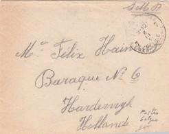 LETTRE   BELGIQUE 1917 POSTES MILITAIRES  99è COMPAGNIE 10è DIVISION POUR BARAQUE N° 6 HARDERWYK HOLLANDE /7699 - Guerre 14-18