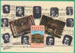 Italie - Milano - La Scala - Vedute Del Teatro Con I Ritratti Dei Piu Celebri Musicisti - Milano (Milan)