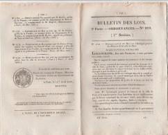 Bulletin Des Lois N° 218 - 1833 - Entrepôt Boissons Paris, - Décrets & Lois