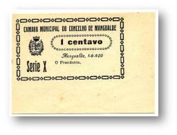 MANGUALDE - CÉDULA 1 CENTAVO - Série X - Escassa - 1.9.1920 - M.A. 1315 - PORTUGAL Emergency Paper Money Notgeld - Portugal