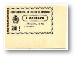 MANGUALDE - CÉDULA 1 CENTAVO - Série Z - Escassa - 1.9.1920 - M.A. 1315 - PORTUGAL Emergency Paper Money Notgeld - Portugal