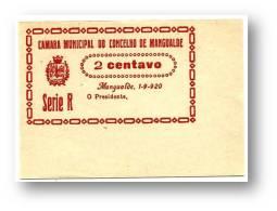 MANGUALDE - CÉDULA 2 CENTAVOS - Série R - Escassa - 1.9.1920 - M.A. 1316 - PORTUGAL Emergency Paper Money Notgeld - Portugal