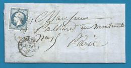 France - Napoleon III N°14A Sur Lettre De CLERMONT-DE-L´OISE (PC 884) Vers PARIS - Verso LIGNE DE QUIEVRAIN - 1849-1876: Classic Period