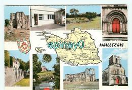 B - 85 - Rare - MAILLEZAIS - Multivues - Carte Géographique - édit. Combier - - Maillezais