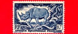 Nuovo - MNH - AFRICA Equatoriale - AEF - 1947 - Animali - Rinoceronte - Rhinoceros - 10 - A.E.F. (1936-1958)